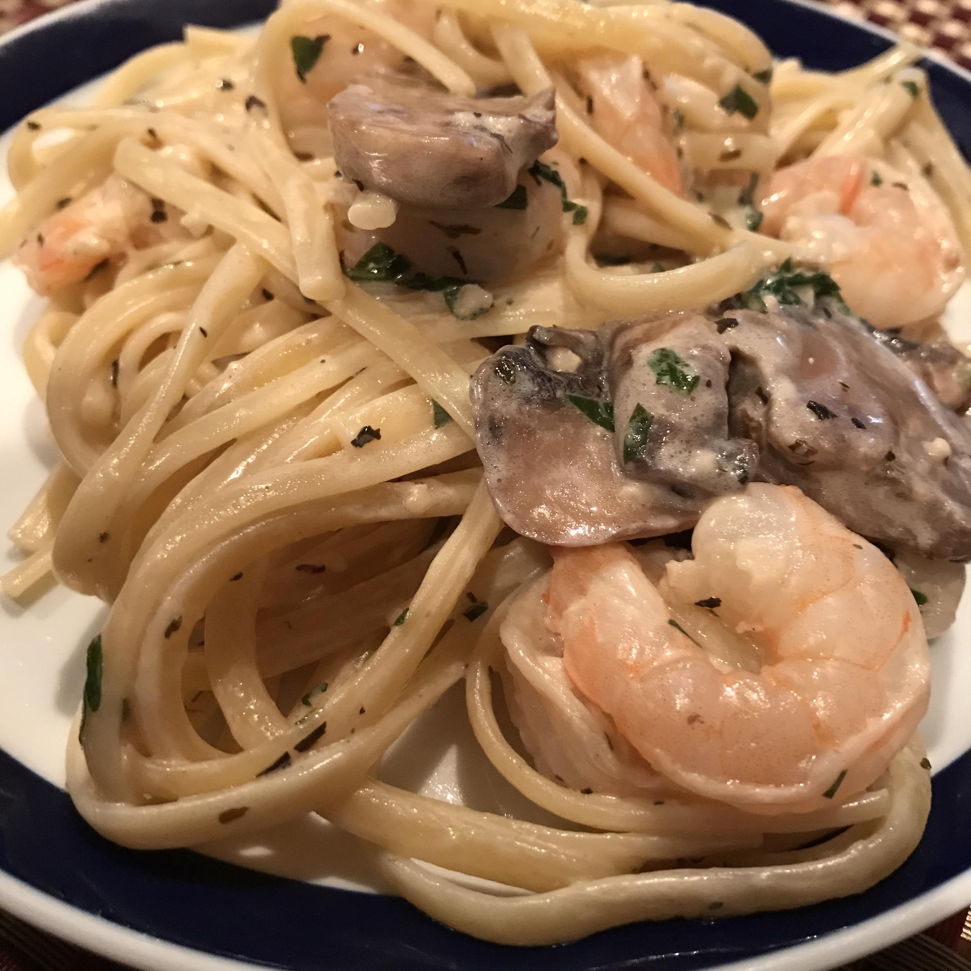 Shrimp and Mushroom Linguini with Creamy Cheese Herb Sauce CJ Kern