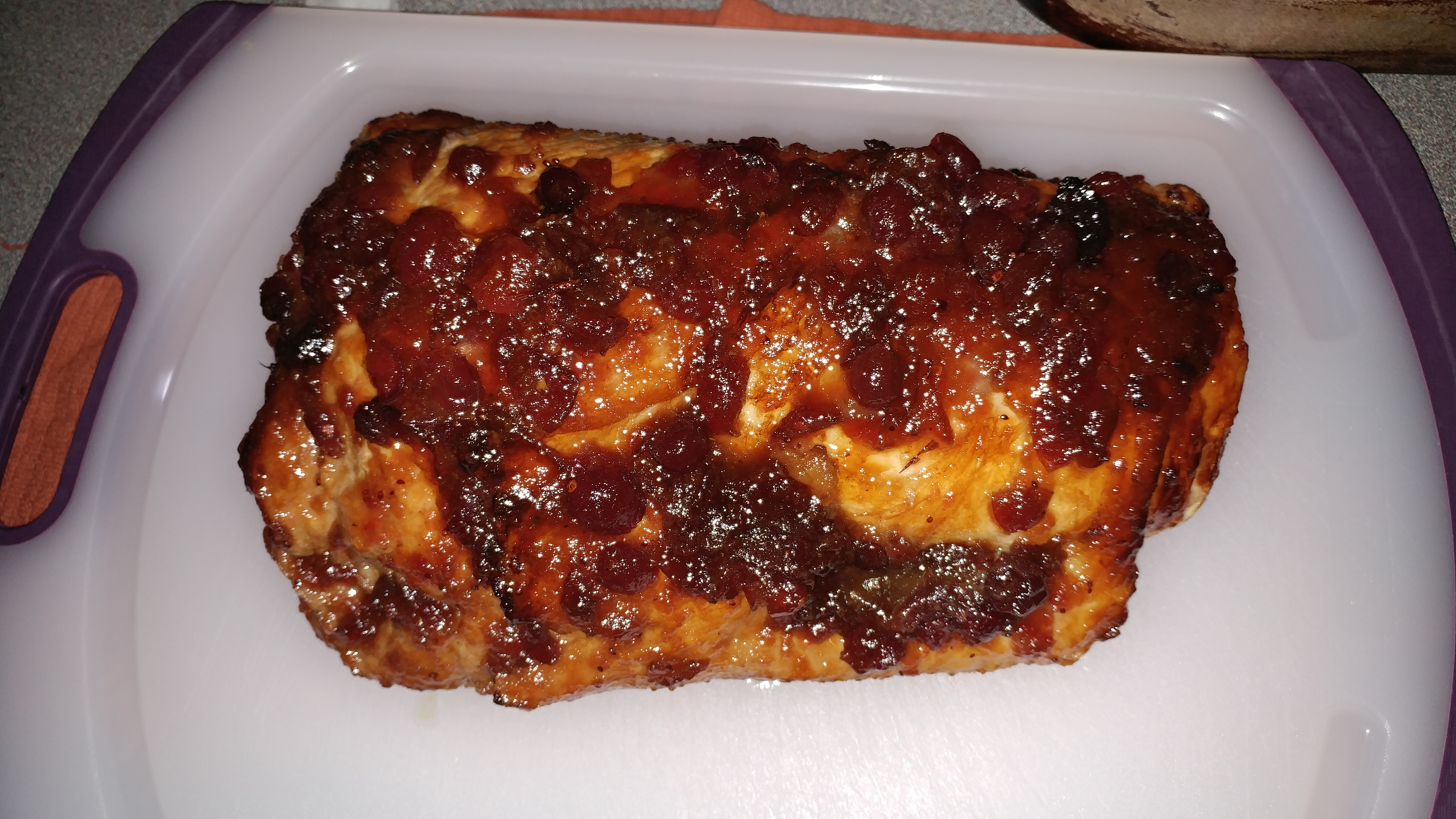 Quick Savory Cranberry Glazed Pork Loin Roast