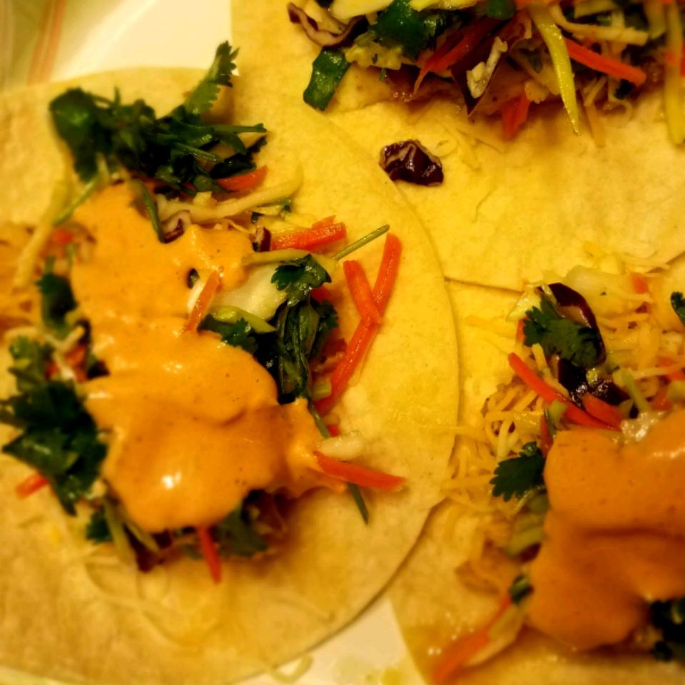 Fish Tacos with Honey-Cumin Cilantro Slaw and Chipotle Mayo jenn