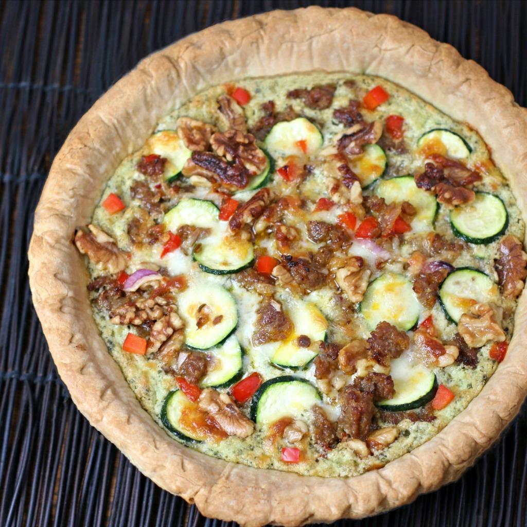 Italian Sausage Ricotta Pesto Pie