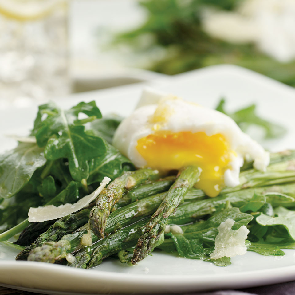 Asparagus Salad Topped with Poached Eggs Victoria Abbott Riccardi