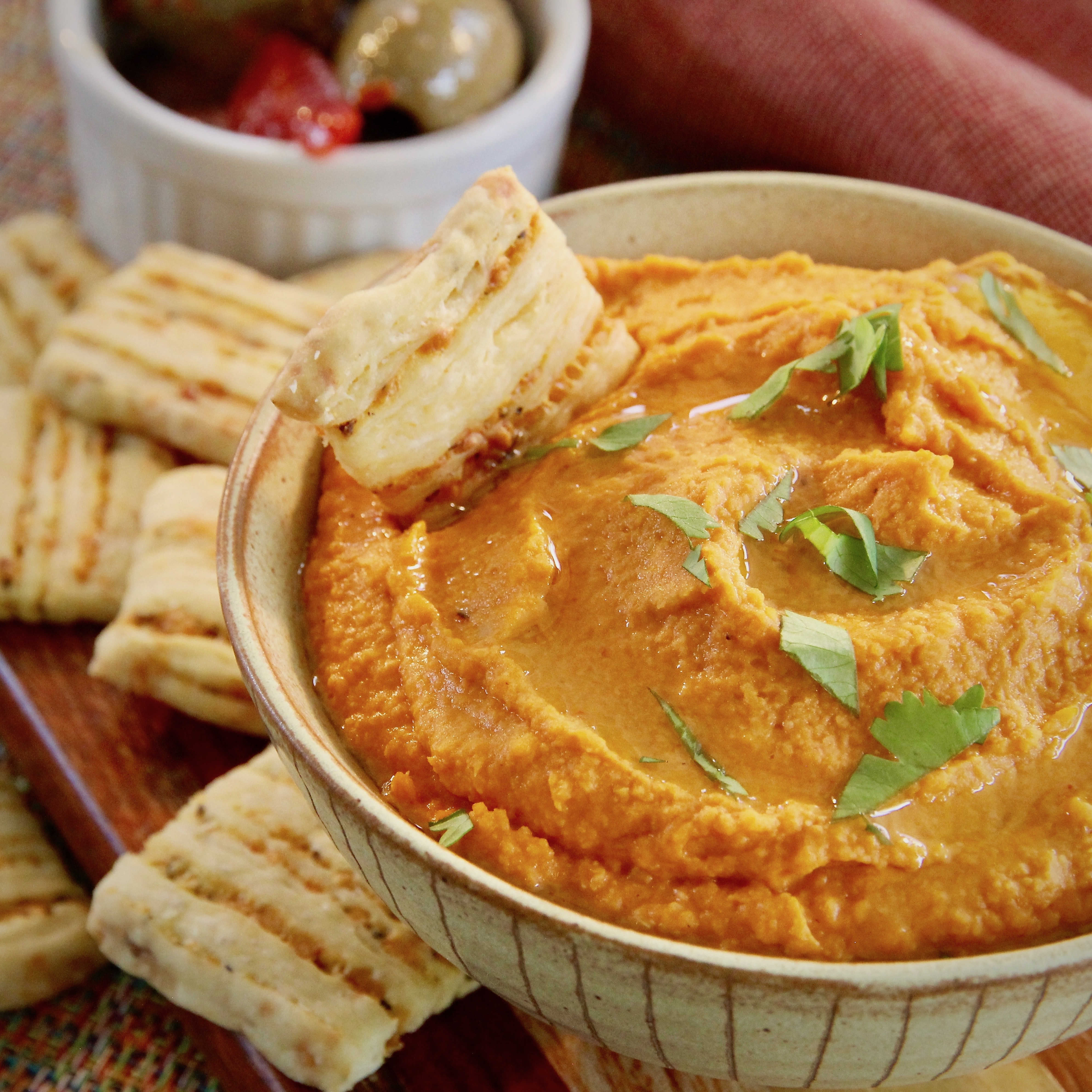 Healthy Halloween Roasted Red Pepper Hummus