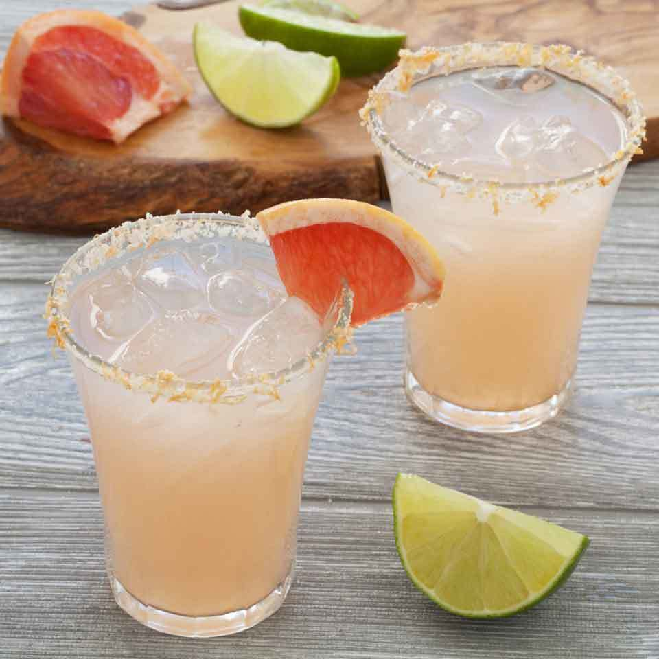 Fresh grapefruit juice adds a zesty punch and lovely pink color to this refreshing skinny margarita. For the perfect finish, upgrade the salt rim on your glass by mixing in a little grapefruit zest to add to both the presentation and flavor. Source: EatingWell.com, April 2017