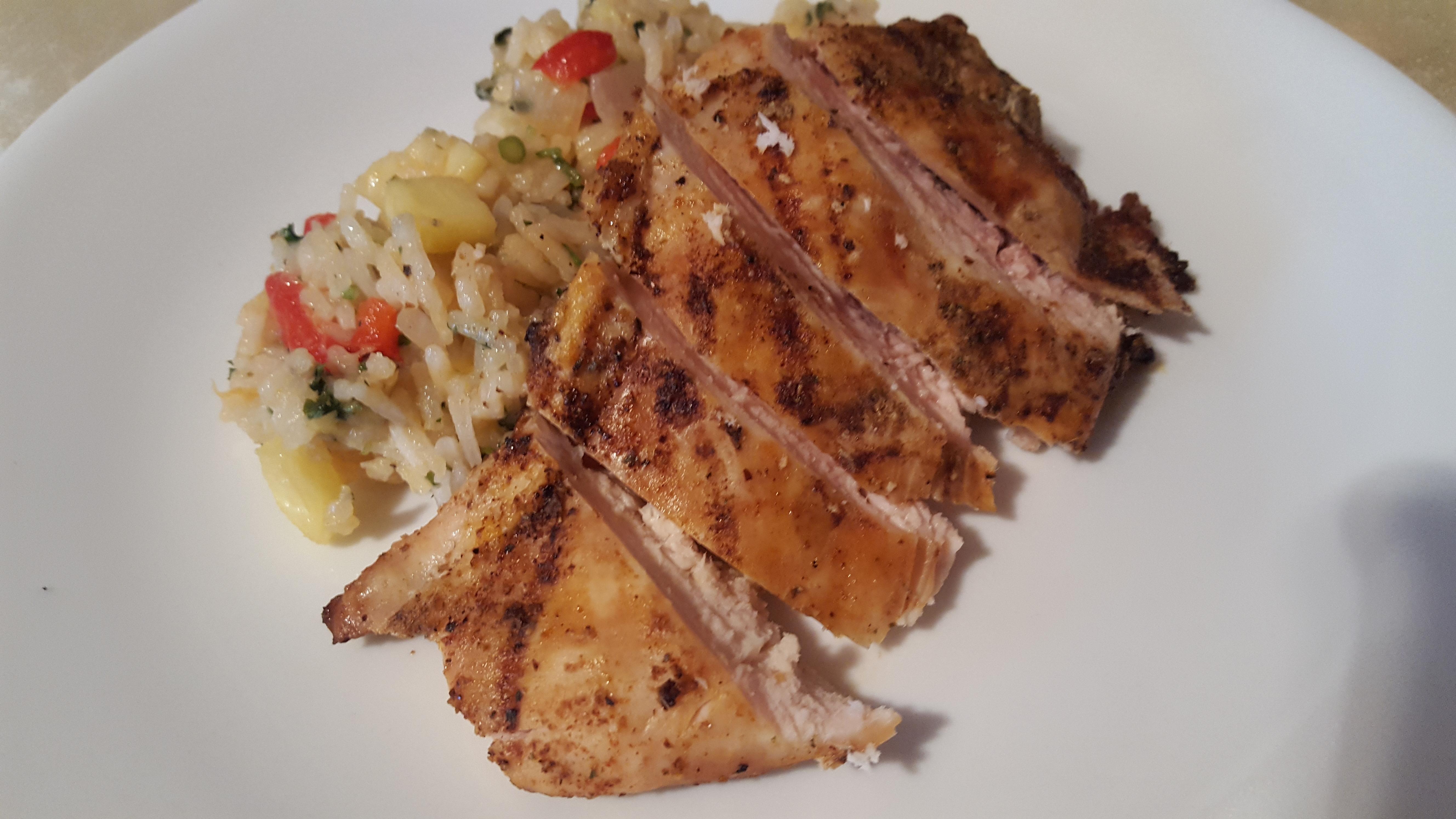 Caribbean Chicken with Pineapple-Cilantro Rice Christopher Loeb