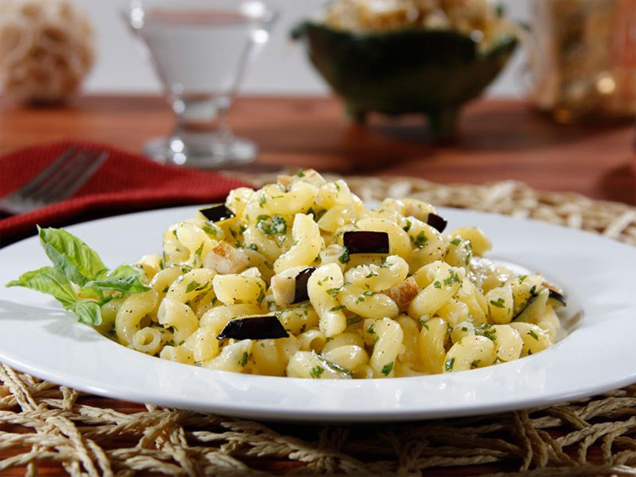 Barilla® Gluten Free Elbows Pasta Salad with Basil Pesto, Eggplant & Parmigiano