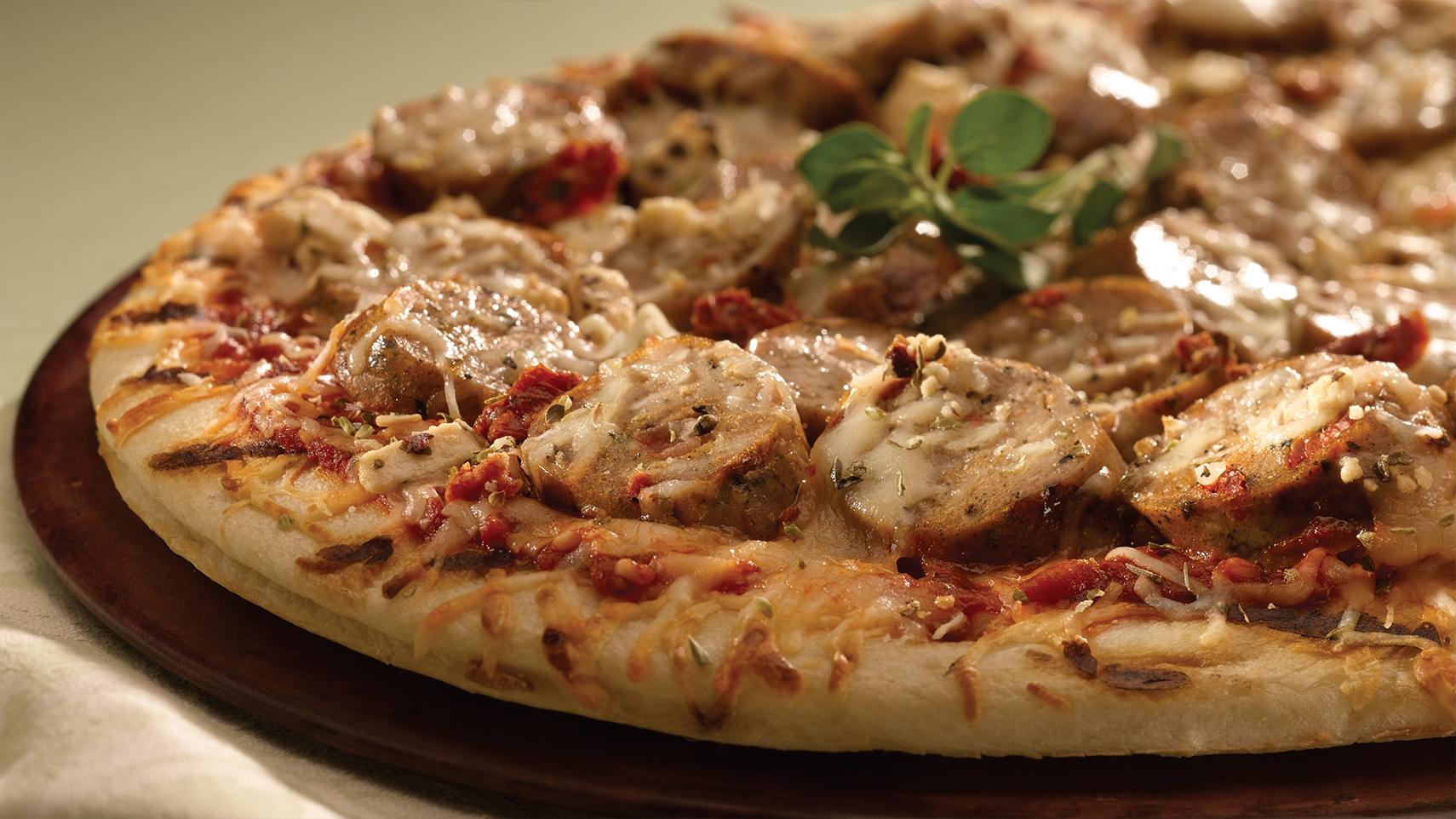 Grilled Mediterranean Greek Pizza with Sundried Tomato Chicken Sausage