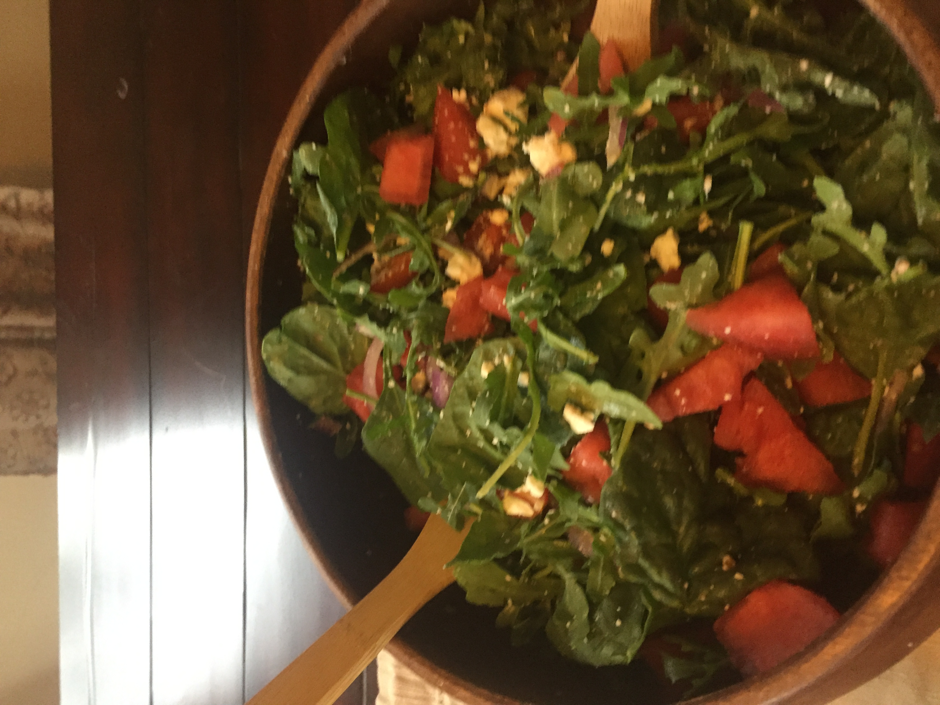 Watermelon and Feta Salad with Arugula and Spinach Chris Gaeta