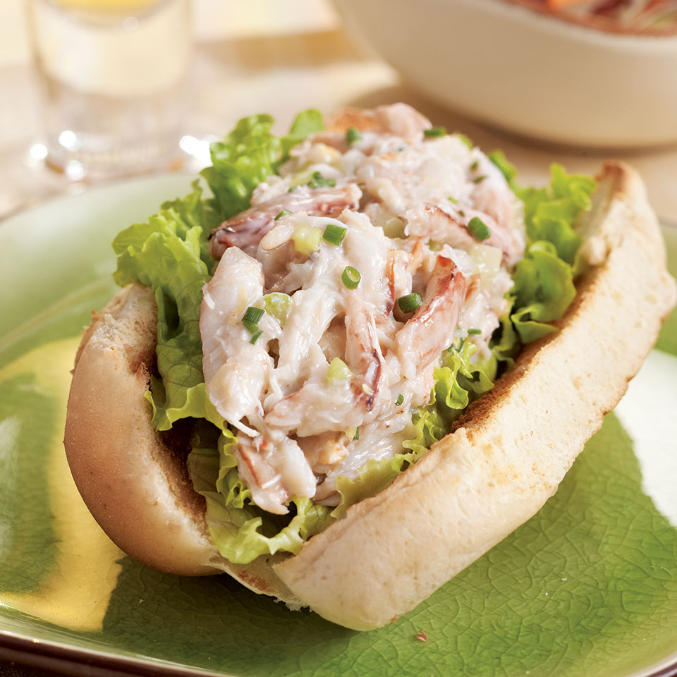 This healthier take on a lobster roll uses crab because it's usually easier (and less expensive) to buy. But by all means use lobster if you prefer. Serve with coleslaw and an ice-cold beer. Source: EatingWell Magazine, July/August 2011