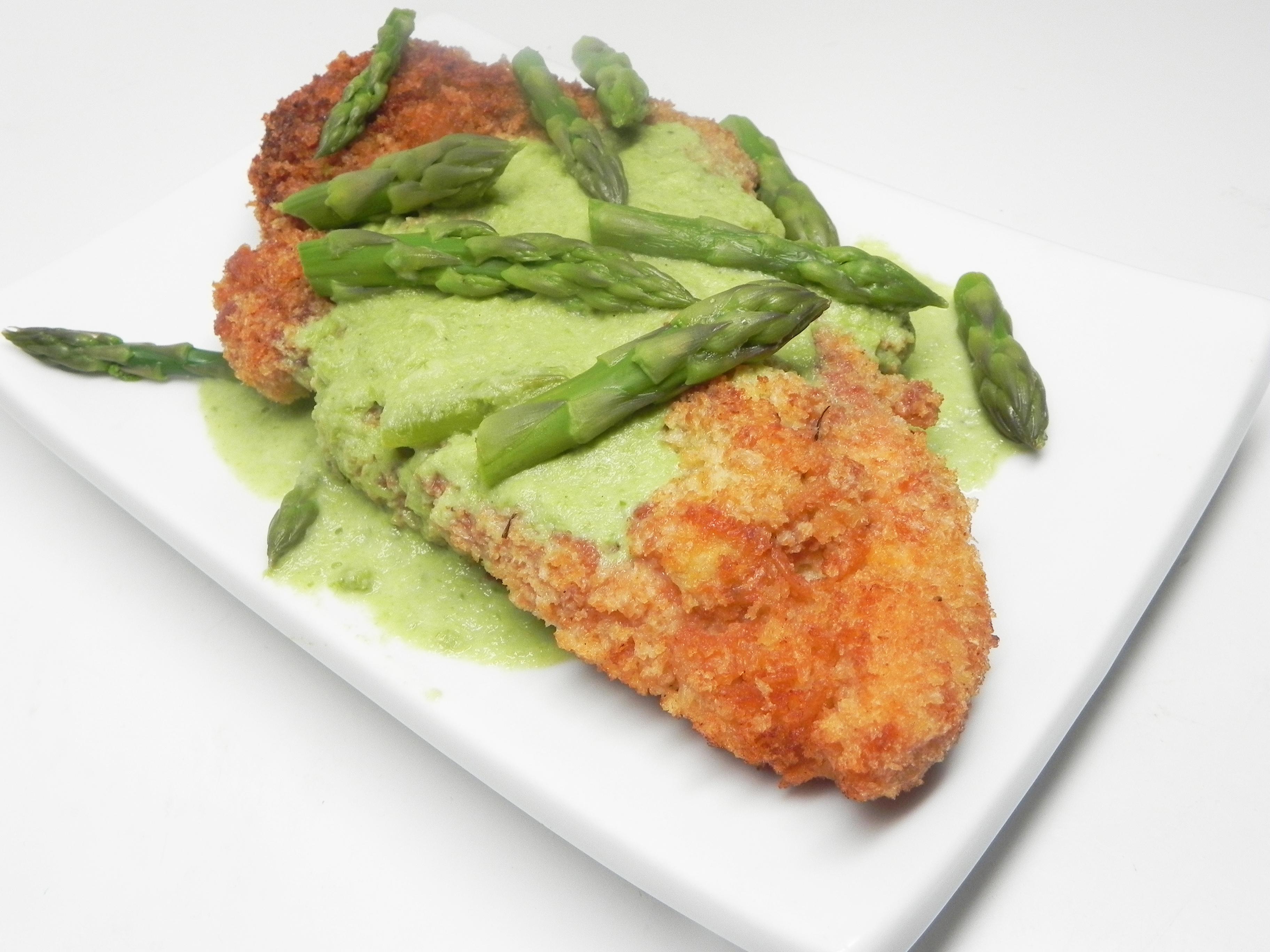 Creamy Asparagus Sauce with Chicken Schnitzel julesrollo