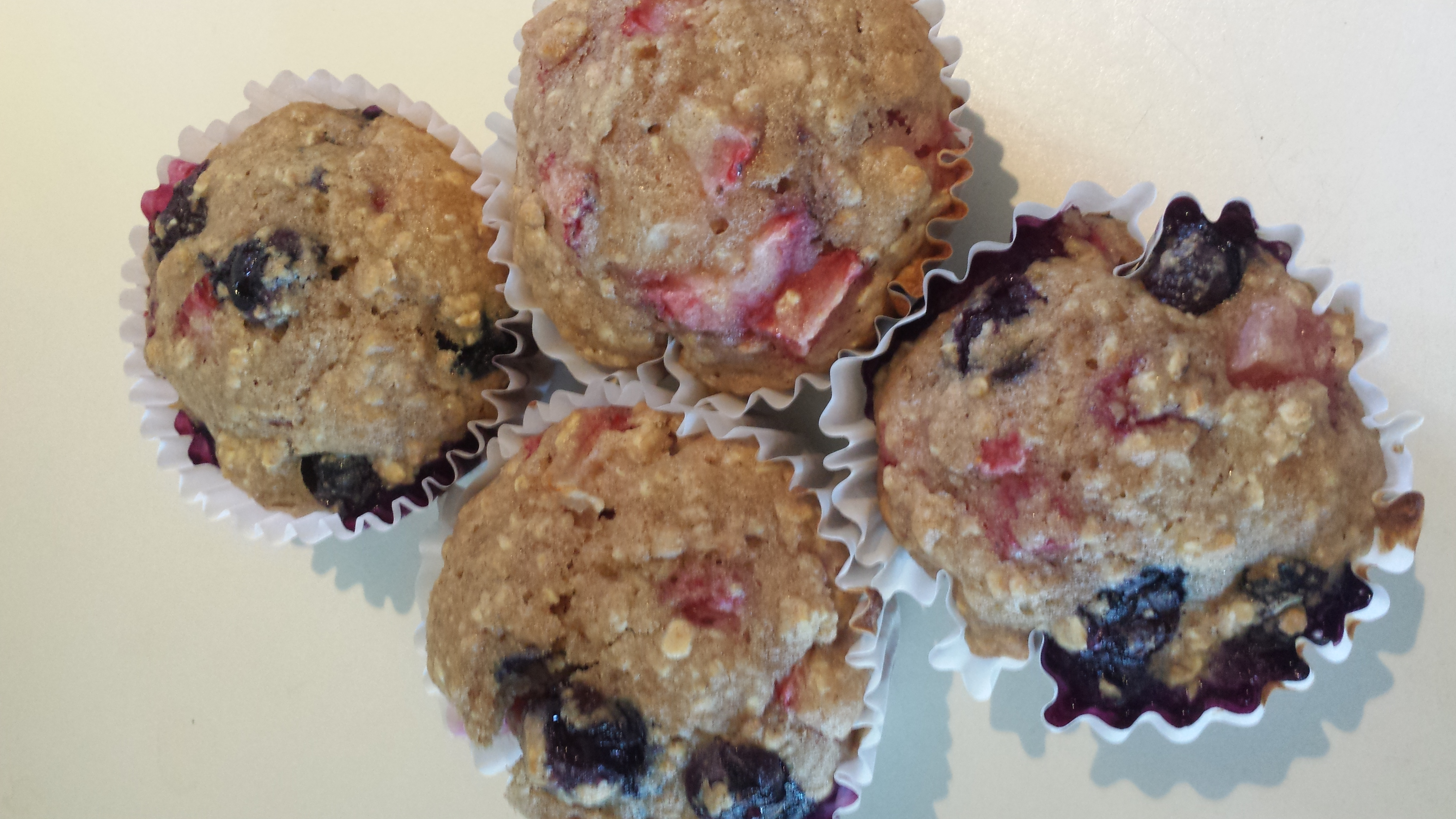 Whole Wheat Oatmeal Strawberry Blueberry Muffins Alana Lessly