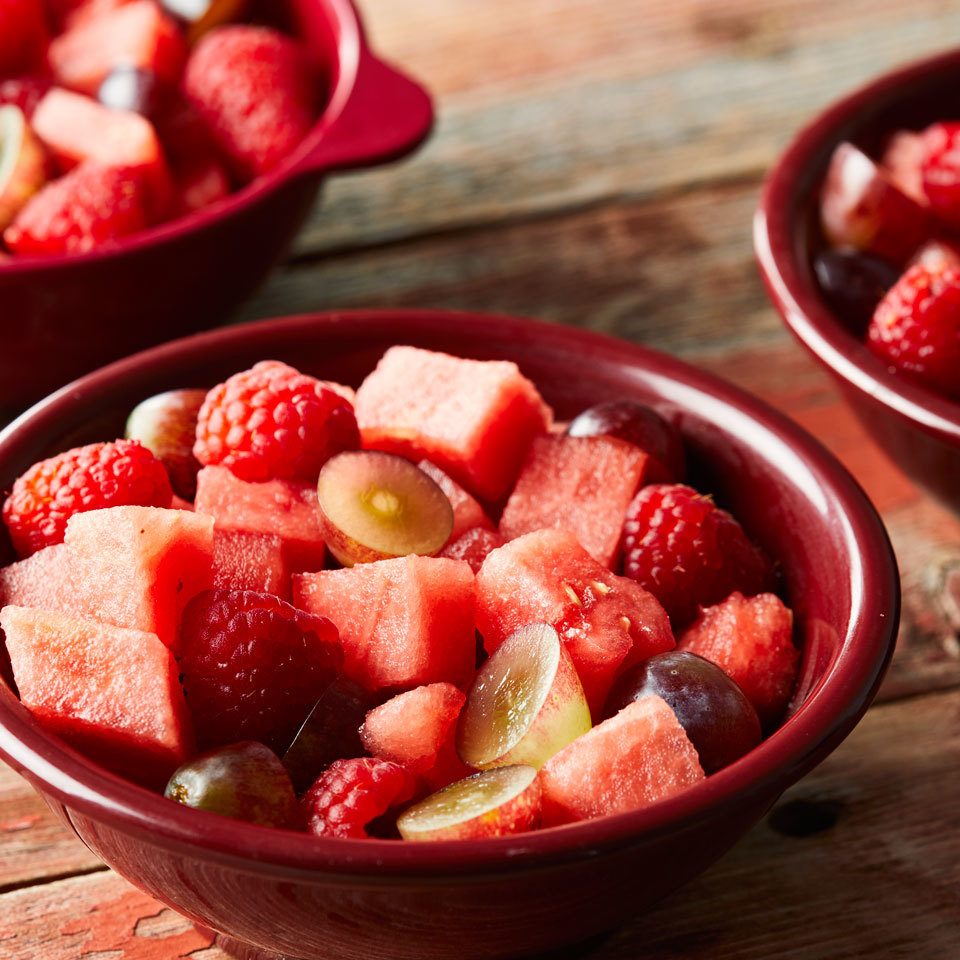 Serve this refreshing fruit salad featuring juicy watermelon, grapes and berries on its own or with other colorblock fruit salads (like green, purple and orange) for a fun, crowd-pleasing rainbow side dish. Source: EatingWell.com, May 2017