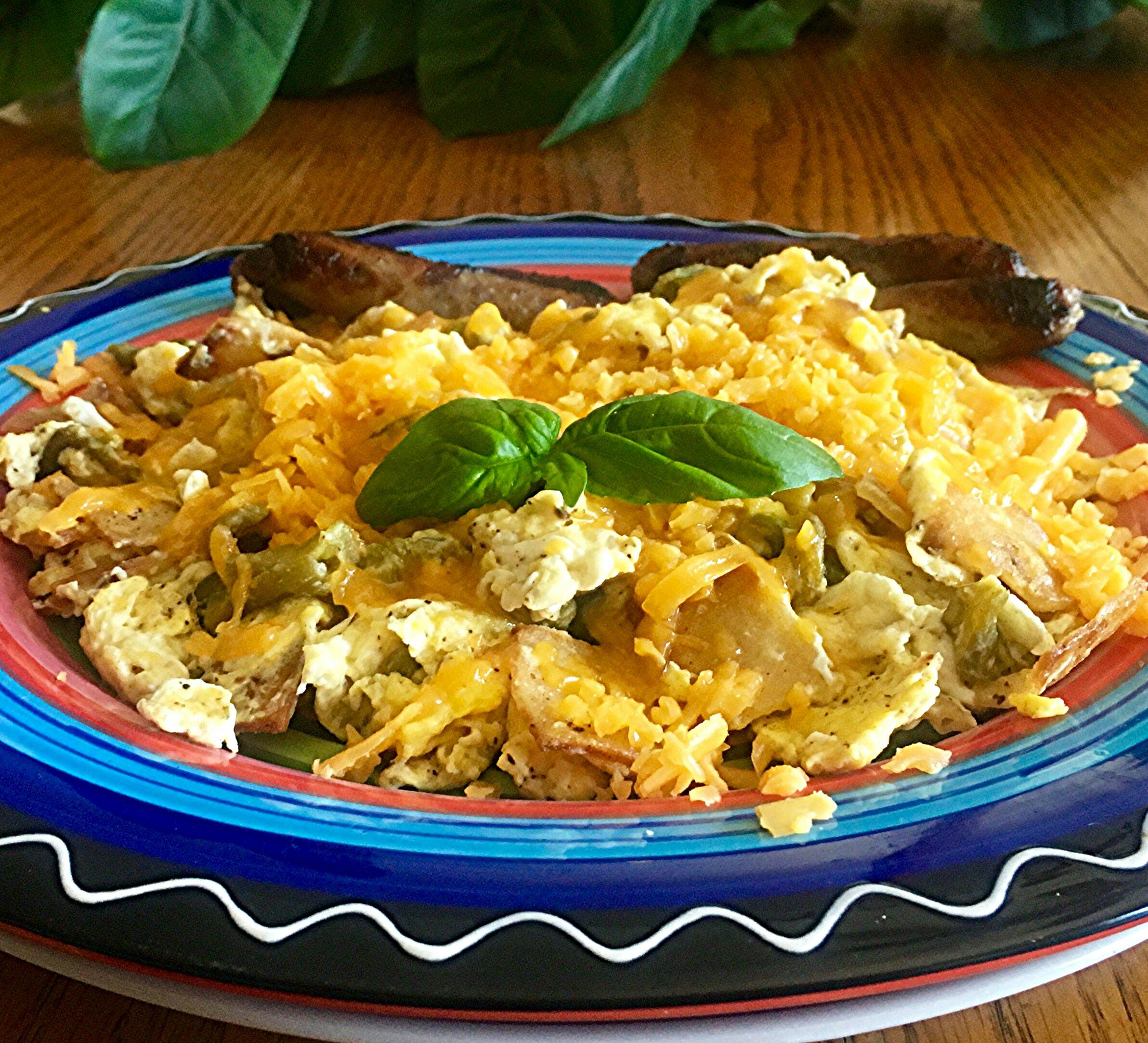 Green Chile Tortilla Scramble Yoly