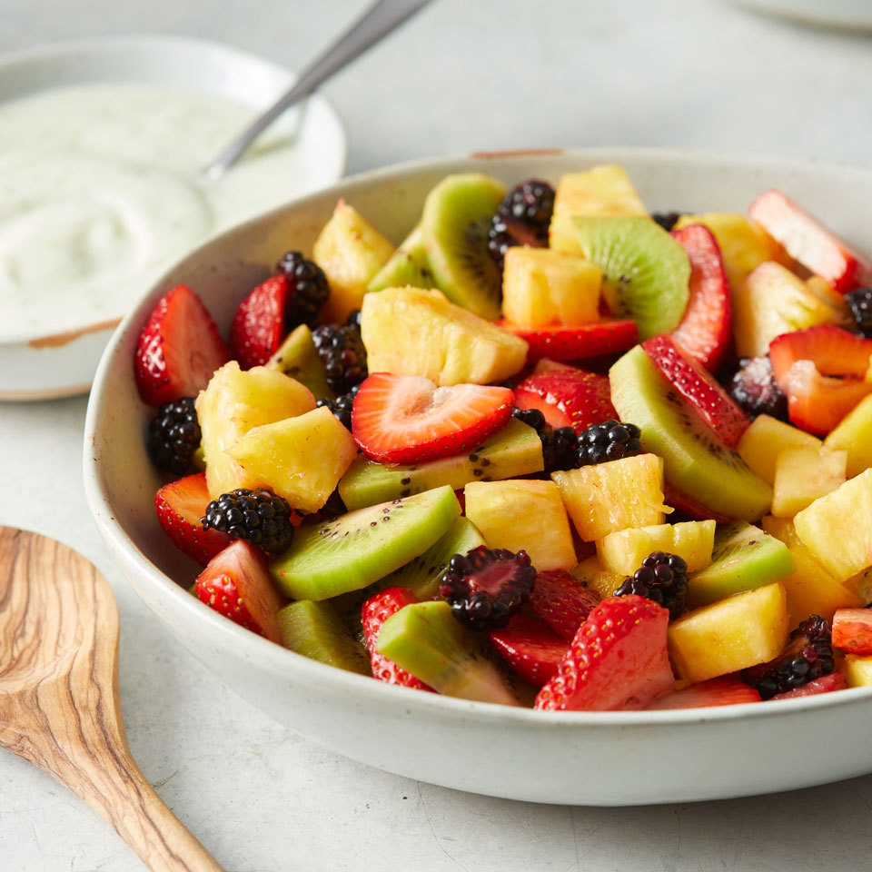 This refreshing fruit salad is a classic combination that will be the favorite at any potluck or cookout. Serve with a creamy yogurt dressing to take this side (or dessert) to the next level. Source: EatingWell.com, May 2017