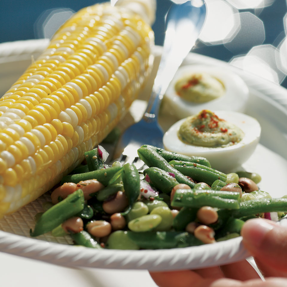 This three-bean salad has far less sugar than typical versions. To keep things simple for your holiday feast, we opt for a combination of canned and frozen beans along with fresh green beans for their great taste and texture.