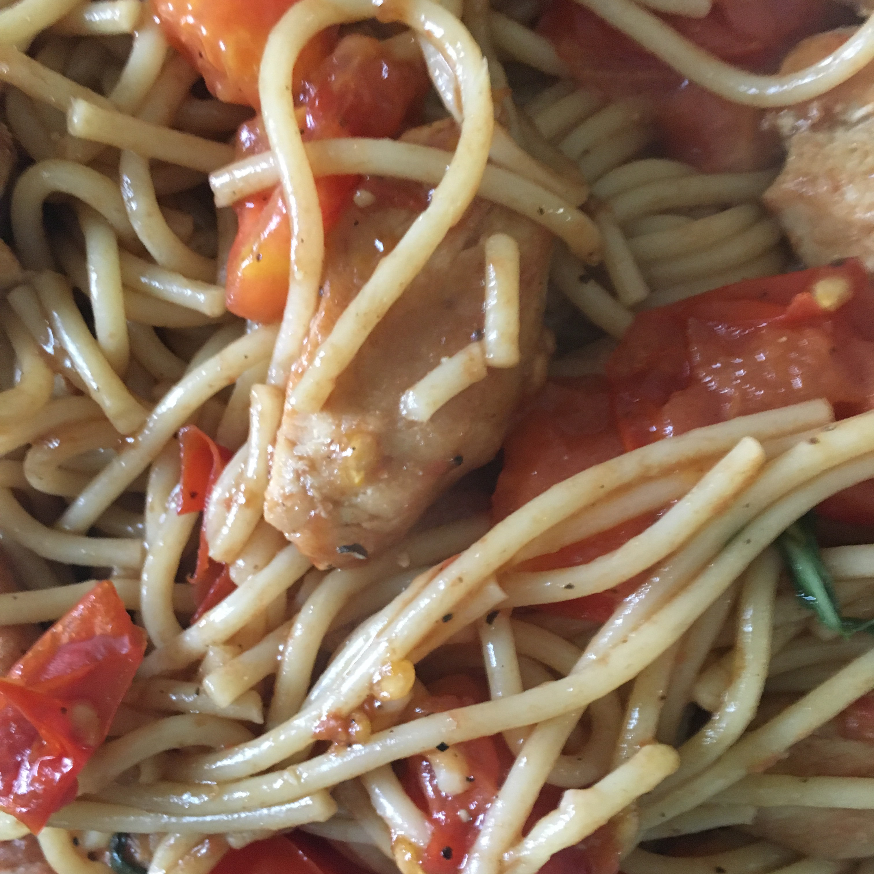 Greg's Easy Spaghetti with Balsamic Chicken Nick&Maria