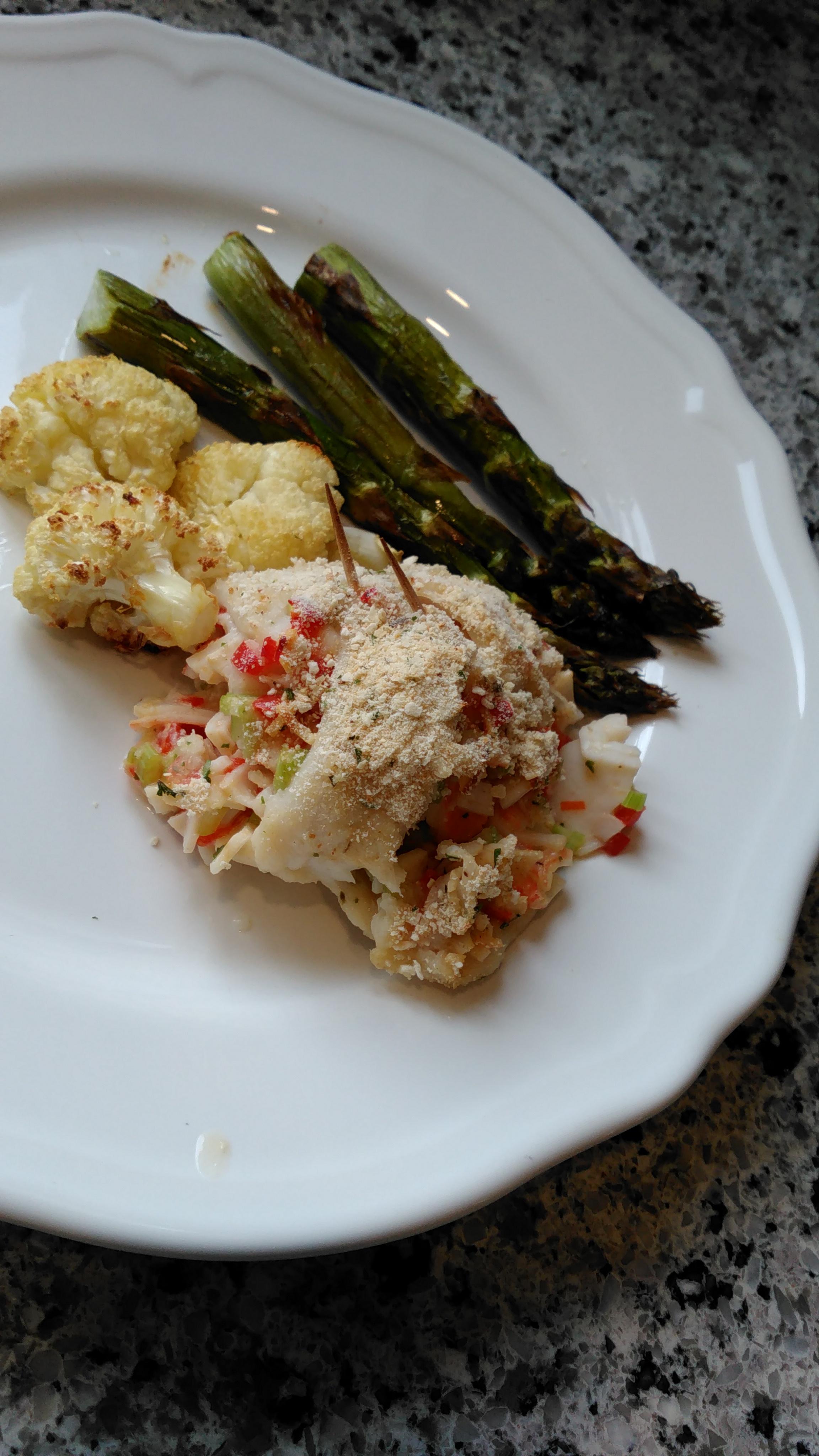 Stuffed Sole with Imitation Crab