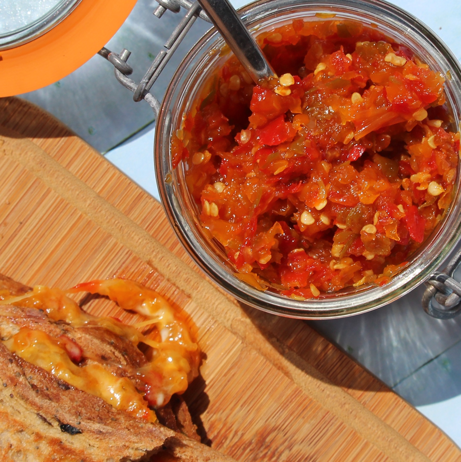 """""""This relish spices up everything from grilled cheese sandwiches to burgers and hot dogs,"""" says foodinjars (Marisa McClellan). """"Or, for an easy appetizer, spoon some over a block of cream cheese and serve with crackers."""""""