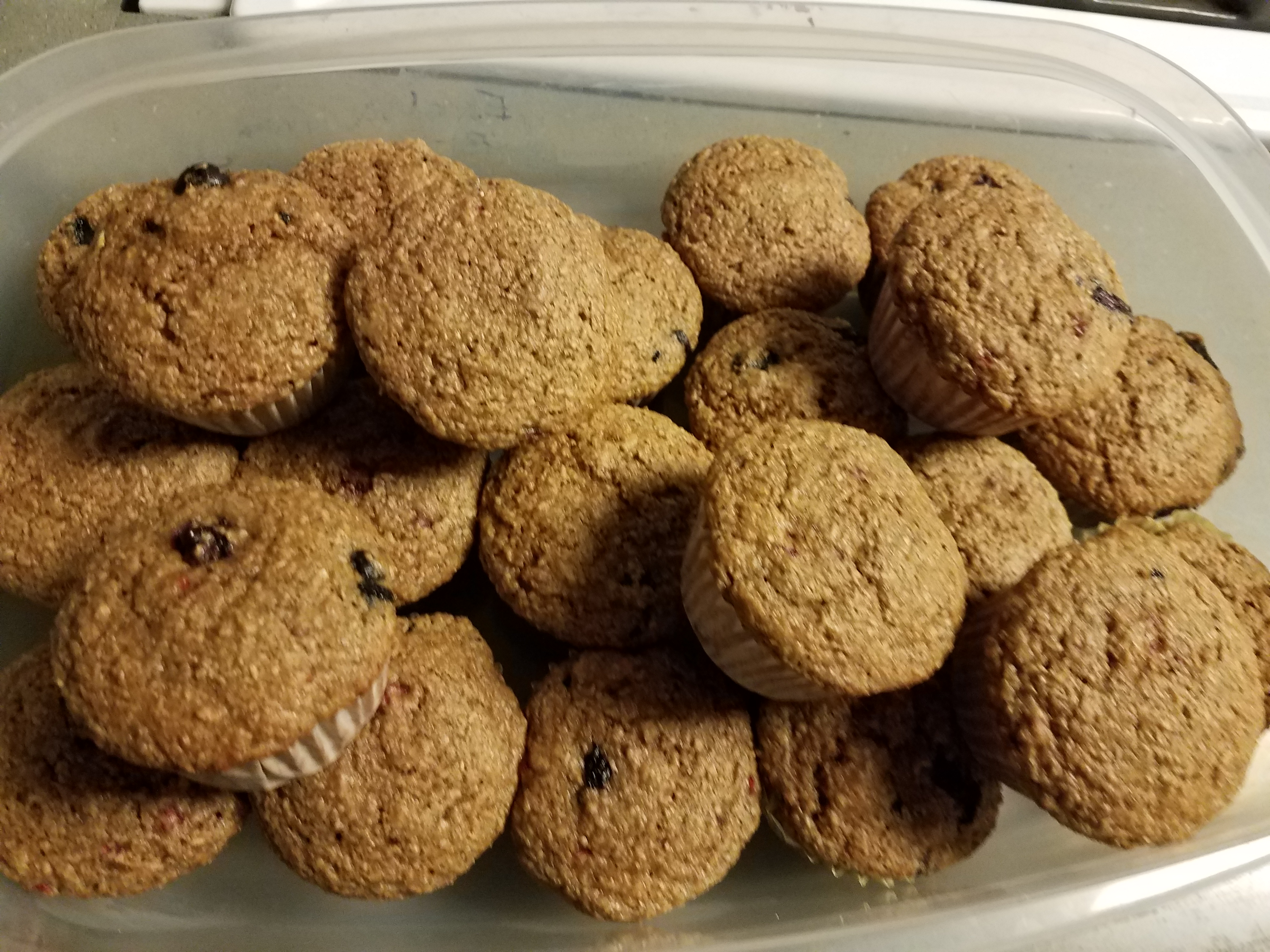Whole Wheat Oatmeal Strawberry Blueberry Muffins
