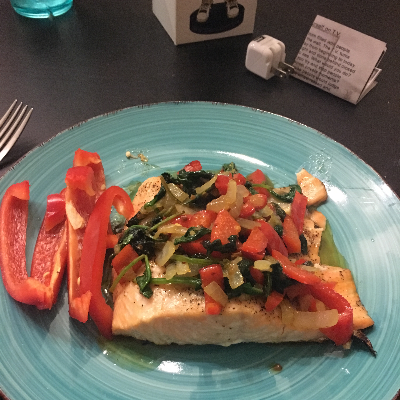 Honey Lemon Glazed Salmon with Spinach Saute
