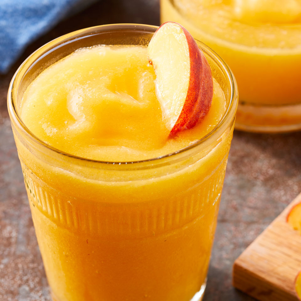 Enjoy sweet peach flavor anytime of year with this skinny frozen margarita. It tastes just like a restaurant version, but with less sugar, for an easy cocktail you will actually want to make at home. Source: EatingWell.com, June 2017