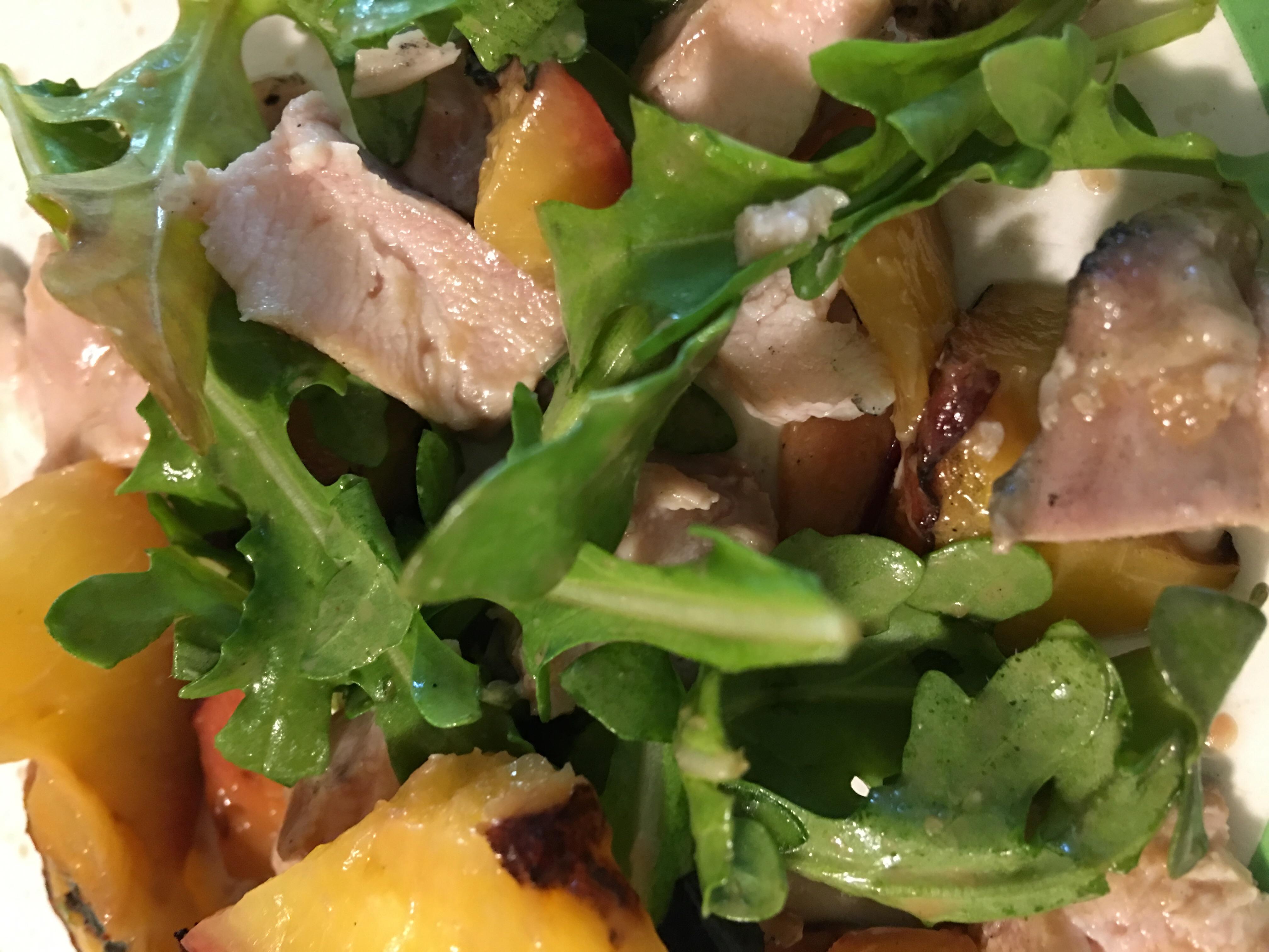 Grilled Chicken, Peach, and Arugula Salad TAMWAM