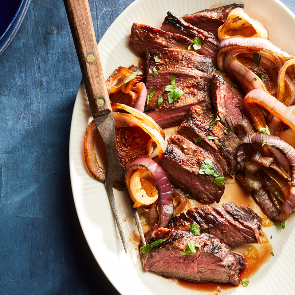 Honey-Paprika-Glazed Steak & Onions EatingWell Test Kitchen