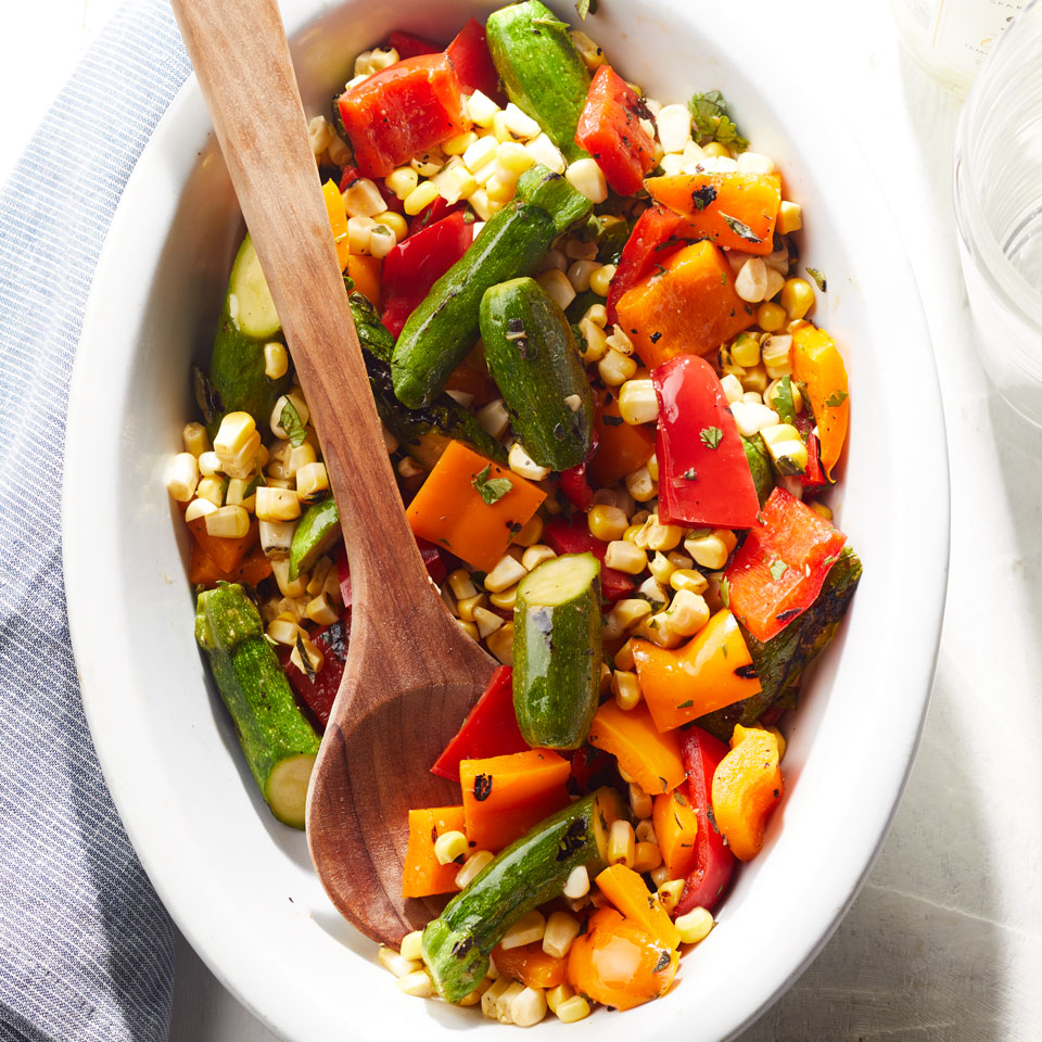 Enjoy this healthy and simple grilled vegetable salad recipe alongside anything else you feel like throwing on the grill. Or toss it with pasta and plenty of Parmesan and call it dinner.Source: EatingWell Magazine, July/August 2017