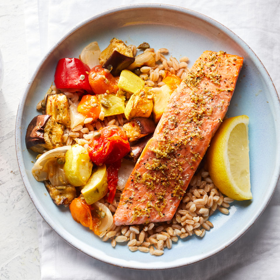 Dig into your farmers' market haul to cook this colorful and healthy Mediterranean diet dinner recipe that's packed with vegetables. Feel free to swap in any vegetables or cook up another whole grain, such as brown rice. Serve with a glass of your favorite red wine. Source: EatingWell Magazine, July/August 2017