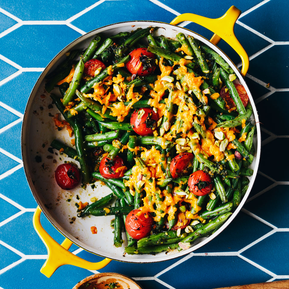 Tomato & Green Bean Casserole with Spicy Herb Pesto Hilary Meyer