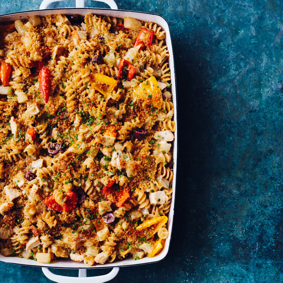 You can assemble this healthy chicken casserole before you leave for a party and pop it in the oven at the host's house. Or bake it at home and bring it along--it's delicious at room temperature too. Source: EatingWell Magazine, July/August 2017