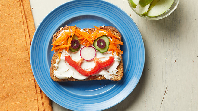 Silly-Face Veggie Sandwich Trusted Brands