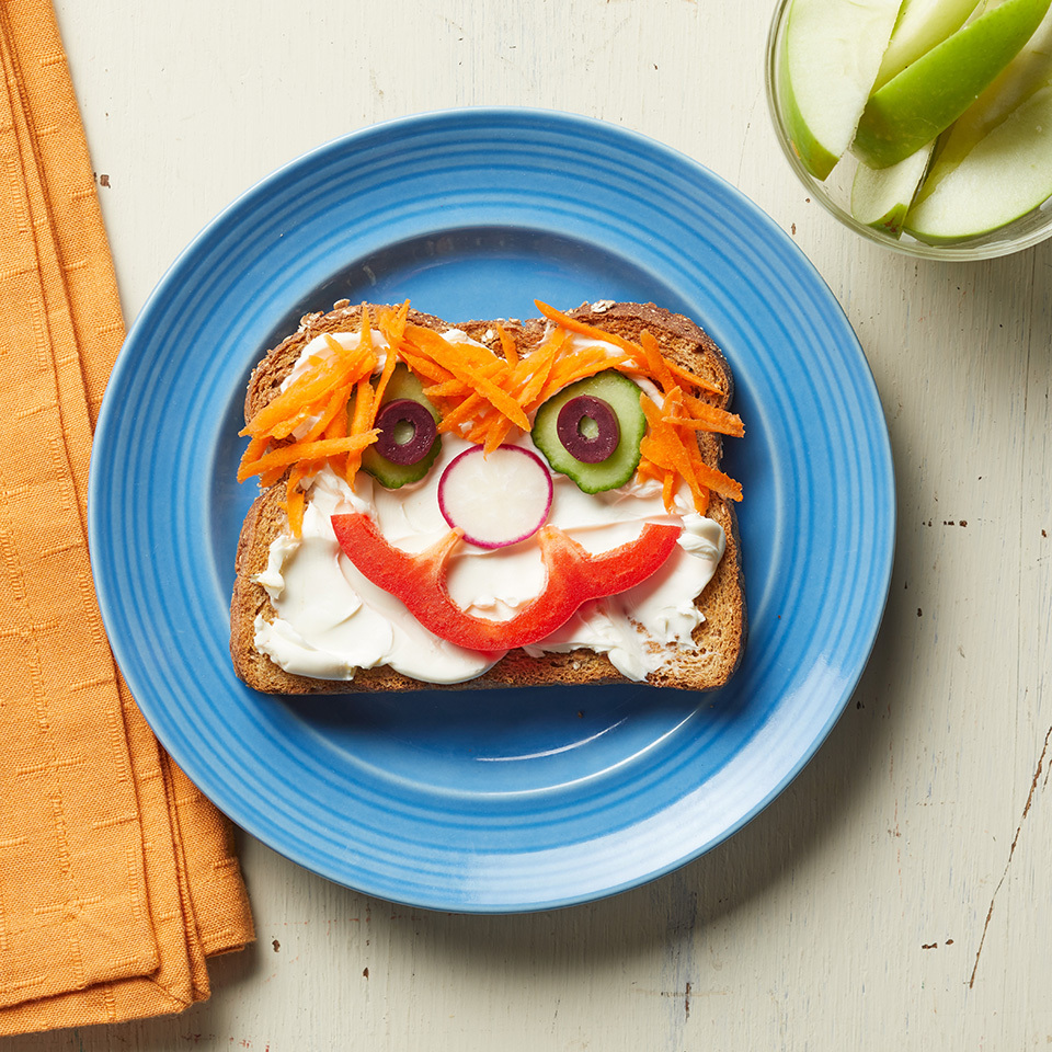 Get your kids excited to eat their veggies with this fun veggie-face sandwich. Let them create the face themselves, and they may be even more inclined to eat it. Source: EatingWell.com, June 2017