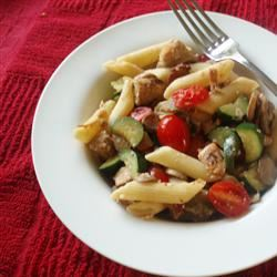 Pasta with Chicken, Bacon, and Summer Vegetables