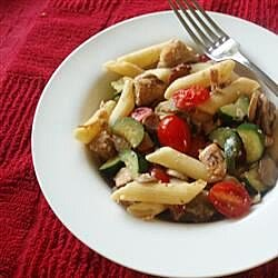 back to pasta with chicken bacon and summer vegetables recipe