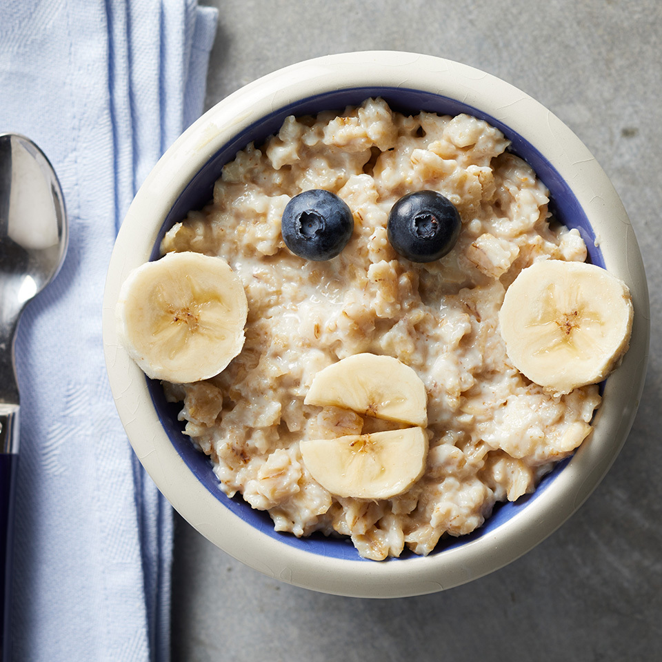 A few slices of banana and two blueberries are all you need to turn a plain bowl of oatmeal into a fun and intriguing breakfast kids will love.Source: EatingWell.com, June 2017