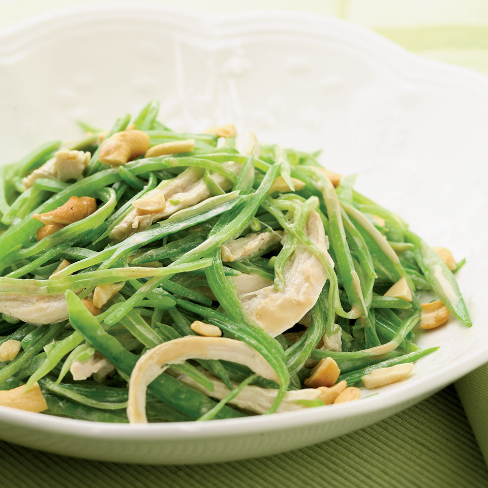 Warm Snow Pea & Chicken Salad EatingWell Test Kitchen