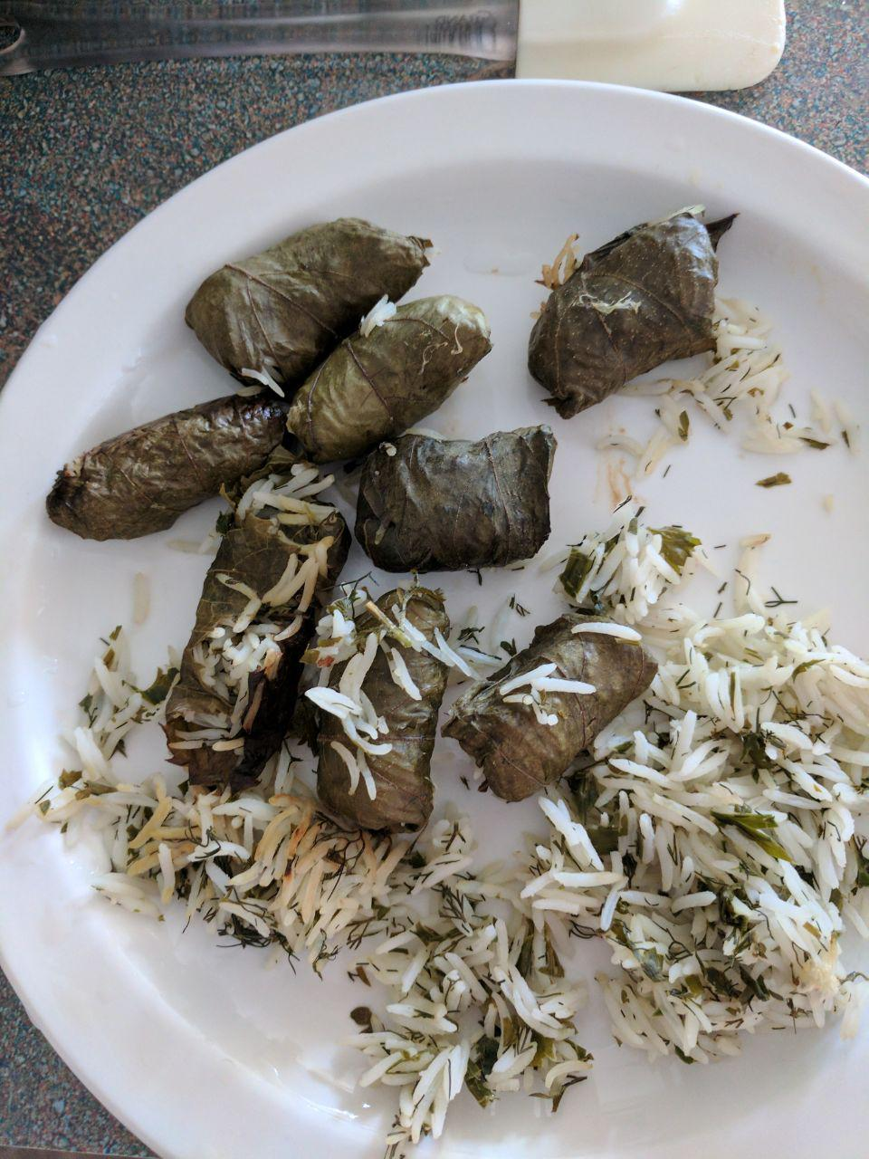 My Own Famous Stuffed Grape Leaves Lady at the Stove