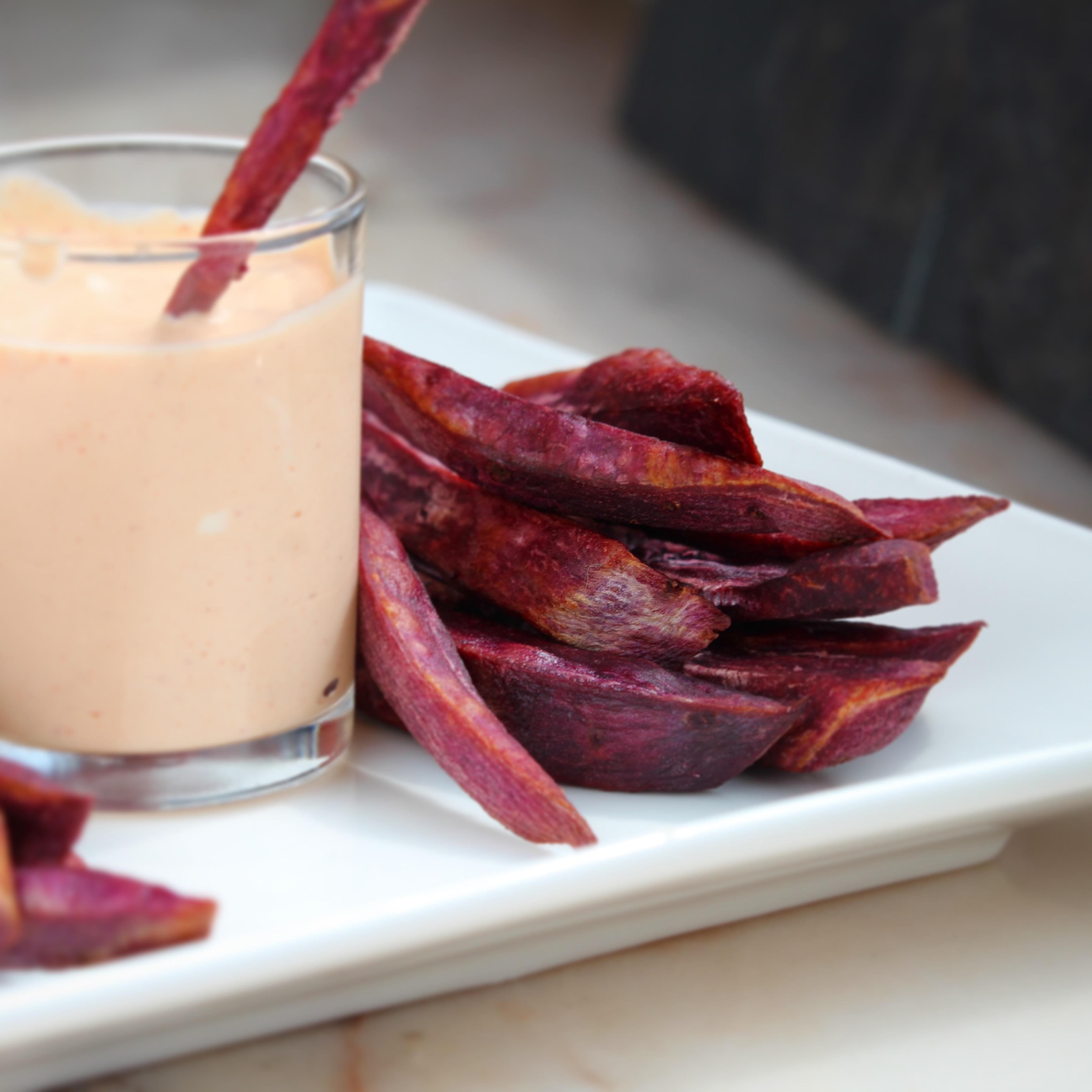 Air-Fried Purple Yam Fries with Sour Cream Sriracha Sauce
