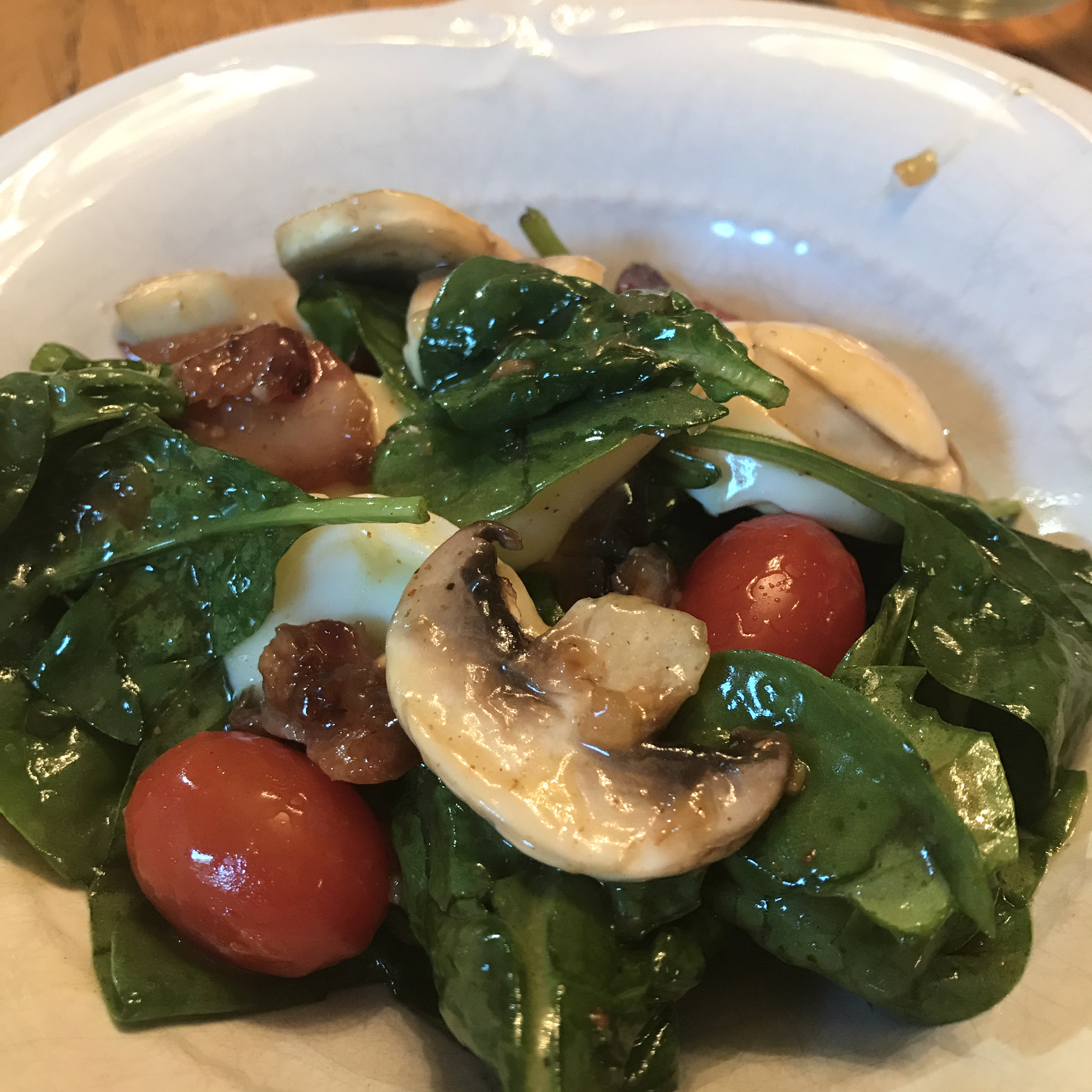 Spinach Salad with Hot Bacon Dressing Organza