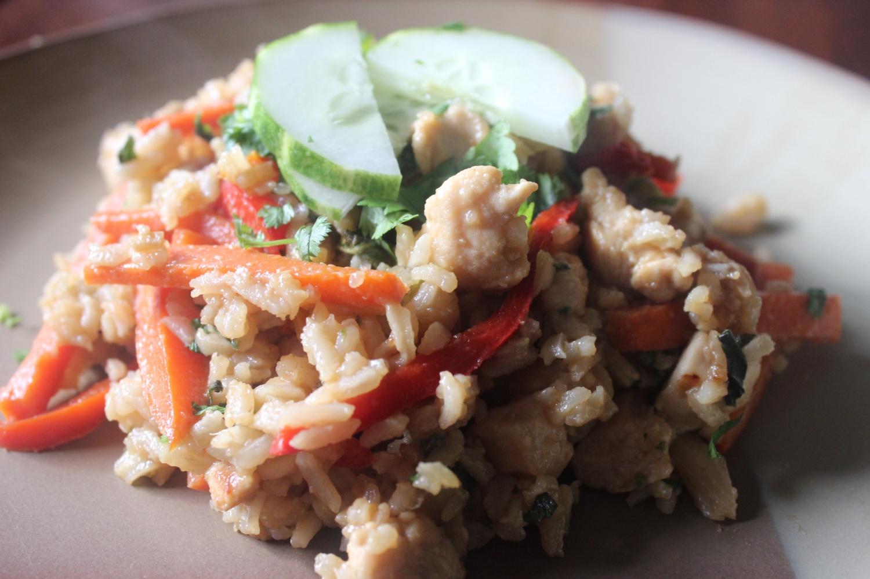 Thai Spicy Basil Chicken Fried Rice mommyluvs2cook