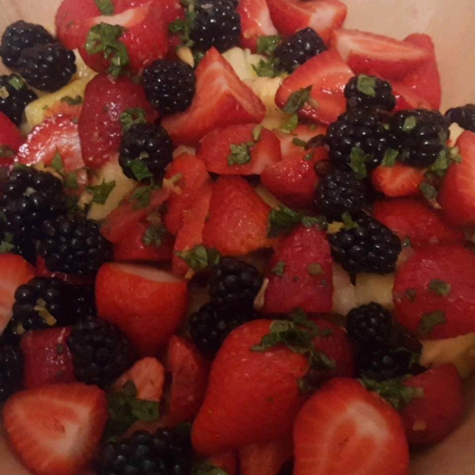 Summer Fruit Salad with a Lemon, Honey, and Mint Dressing Sylverbelles