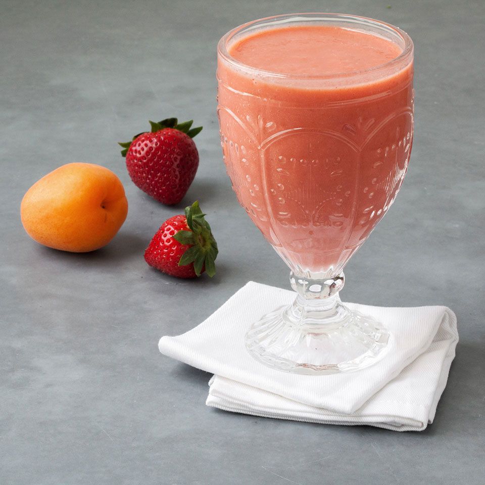 Combine fresh apricots with frozen strawberries in this healthy smoothie recipe for a perfectly frosty way to cool down all summer long.