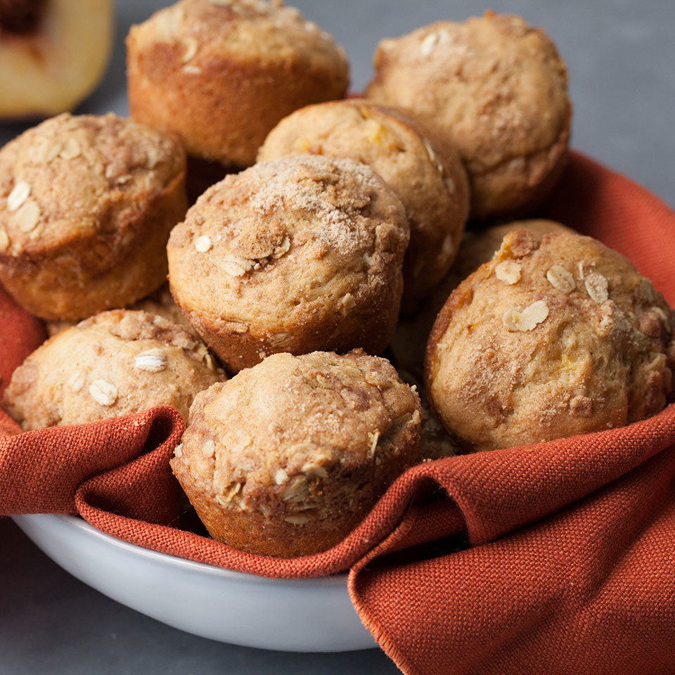 Gluten-free and perfectly crumbly, these muffins are packed with cinnamon flavor that blends seamlessly with fresh or frozen peaches. Source: EatingWell.com, July 2017