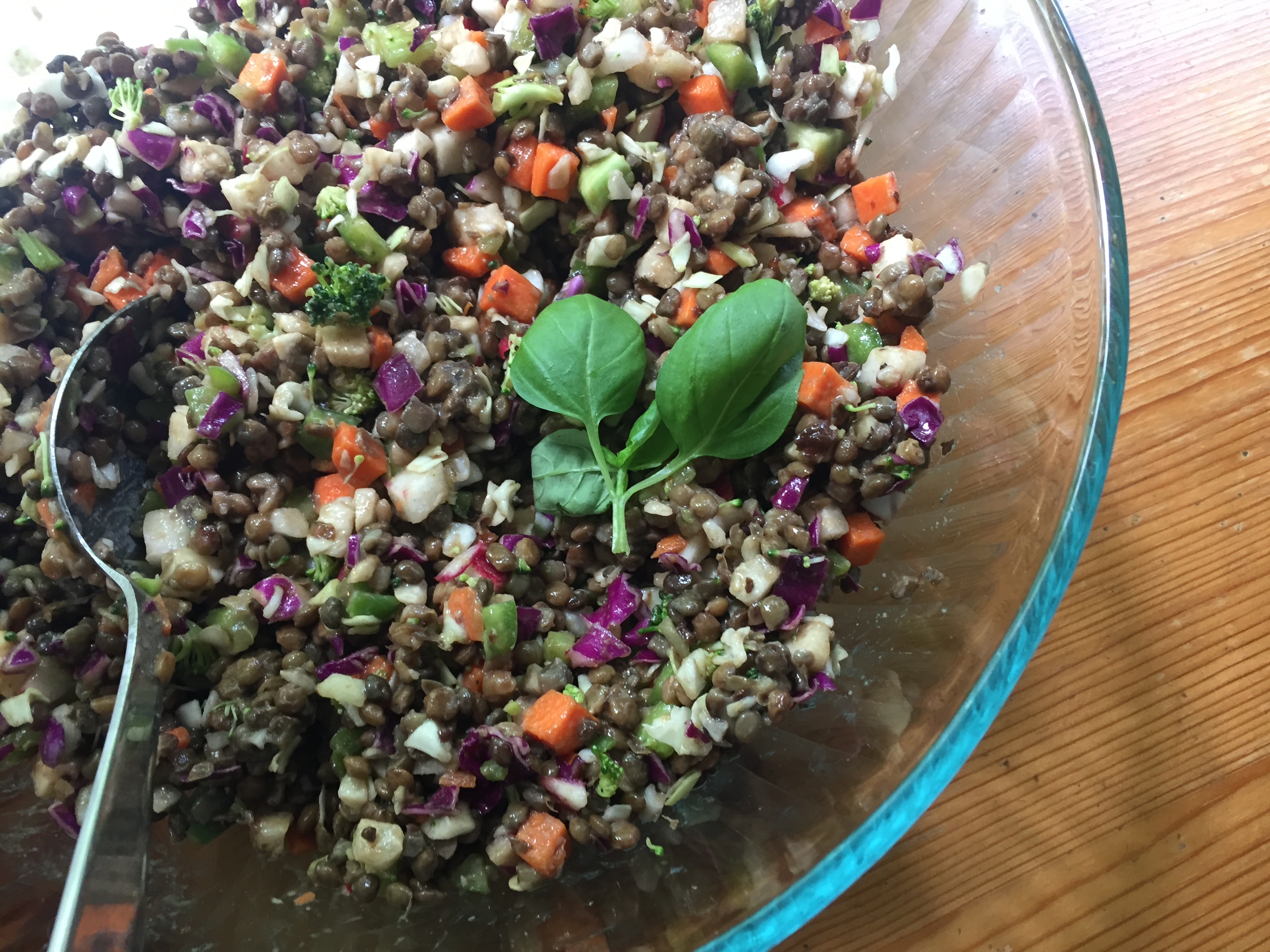 "Brown lentils mix it up with chopped fresh cucumber, tomato, red onion, and crumbled feta cheese. ""This is a delicious salad or side dish that may be kept for up to 3 days in the refrigerator, if covered,"" says Heather. ""Just moisten with additional salad dressing when ready to use."""