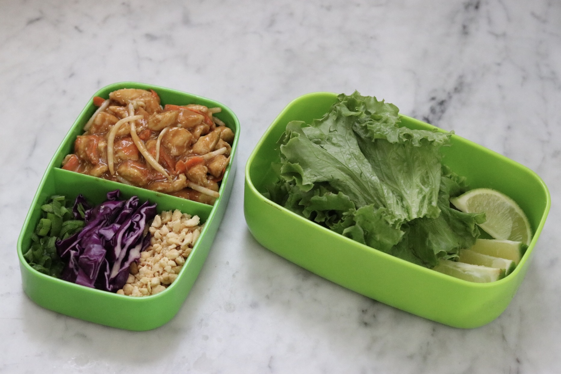 Inside you'll find a single-serving pad Thai-flavored lettuce wrap lunch that you can take wherever you're headed in your bento box. It takes just 25 minutes to prepare, so you can have it in no time!