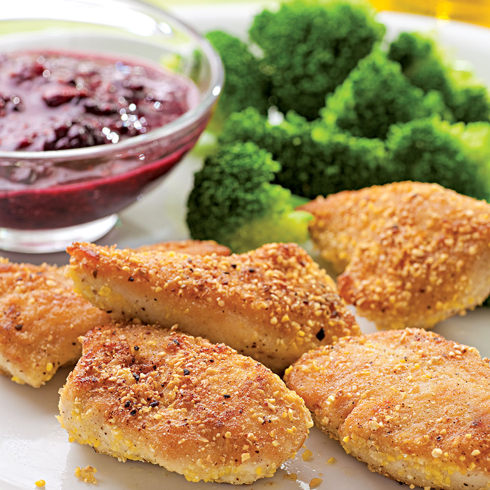 Cornmeal-Crusted Chicken Nuggets with Blackberry Mustard EatingWell Test Kitchen