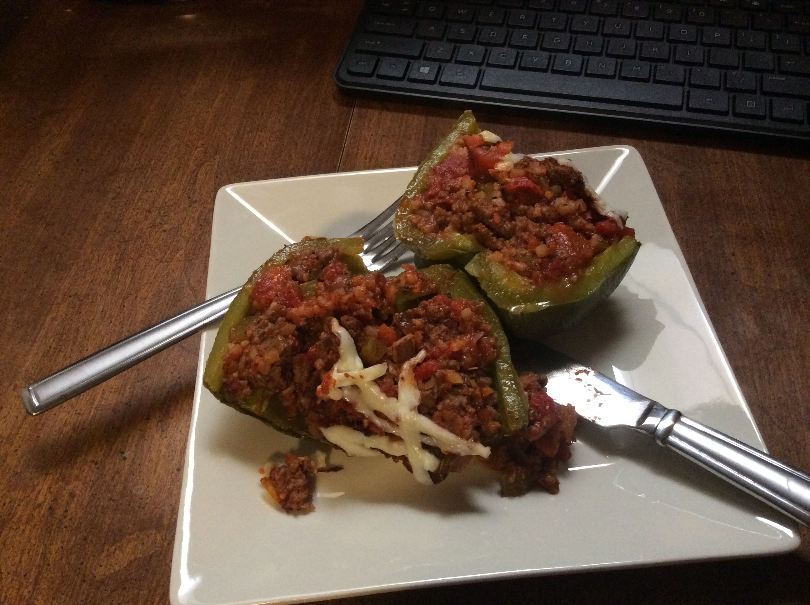 Stuffed Peppers with Frozen Cauliflower Rice