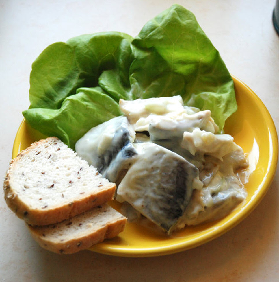 """""""This herring in yogurt dressing is a cool and refreshing starter, perfect for a casual get-together or summer party,"""" says Olenka. """"Serve with some fresh bread and crisp salad leaves."""""""