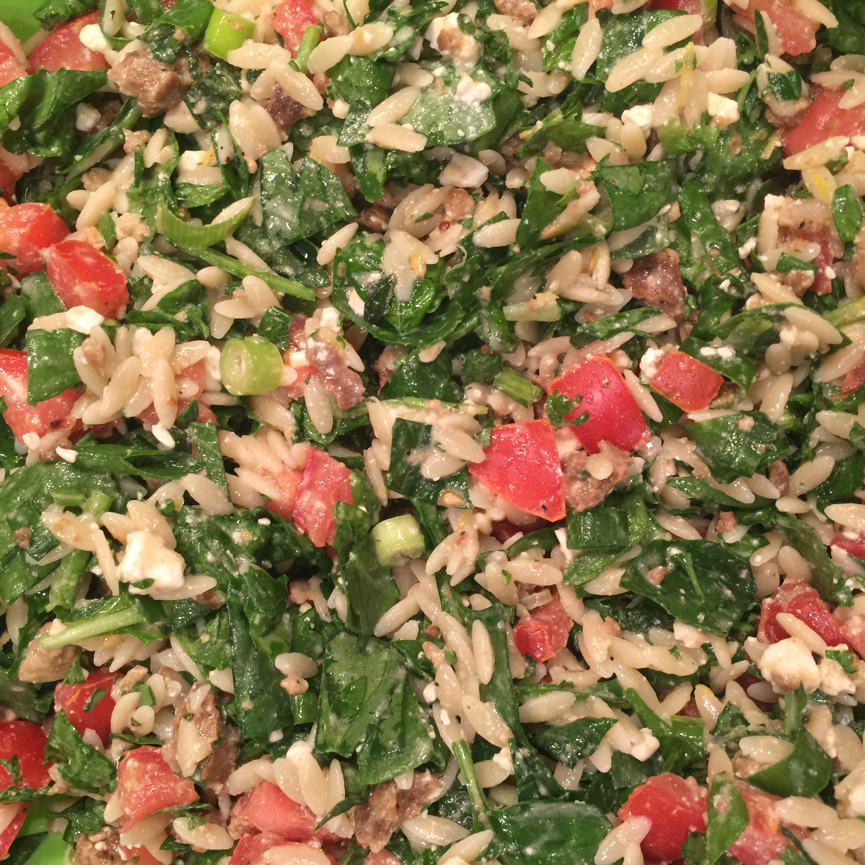 Mediterranean Orzo Spinach Salad Shige T
