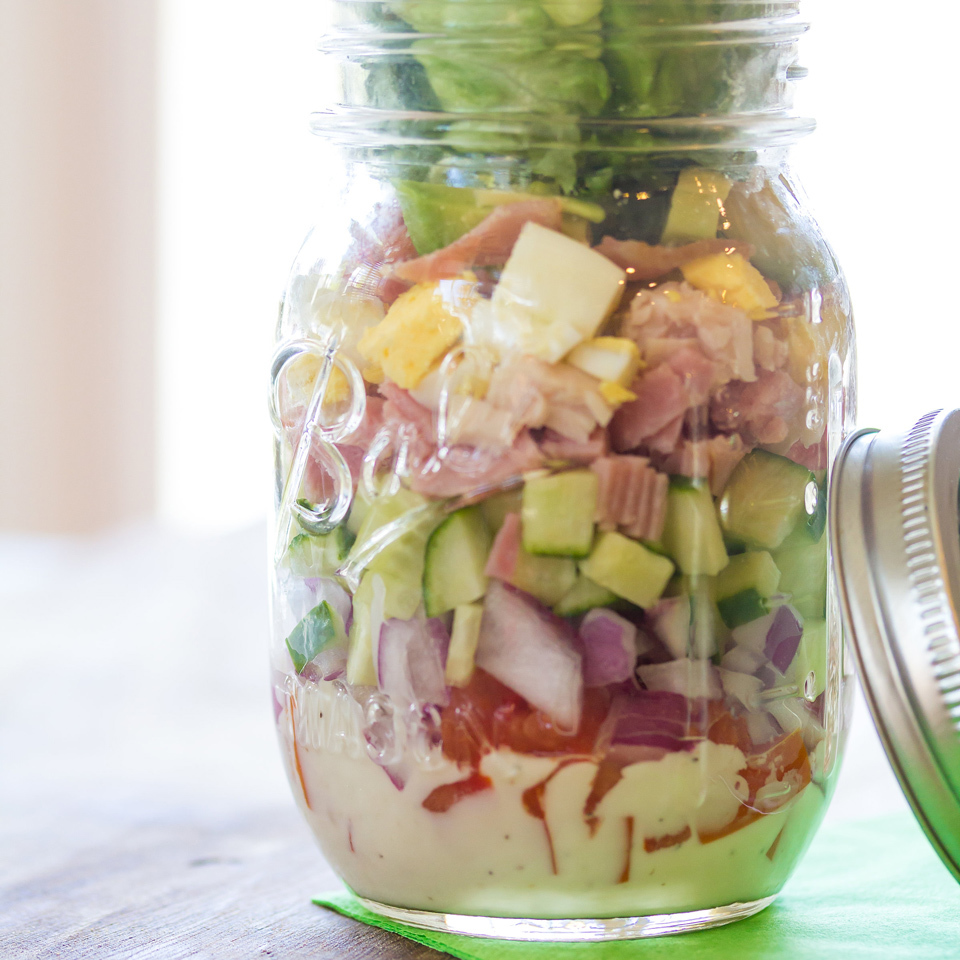 Classic Cobb Mason Jar Salad Holley Grainger, M.S., R.D.N.